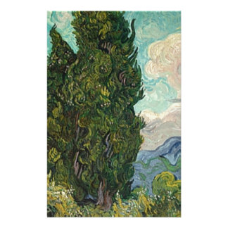 Van Gogh Cypresses Stationery