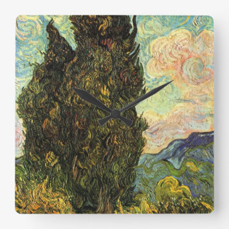 Van Gogh Cypresses, Vintage Landscape Fine Art Clock