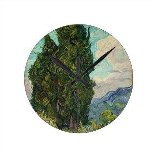 Van Gogh Cypresses Wallclock