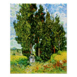 Van Gogh Cypresses with Two Women Poster