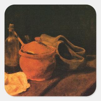 Van Gogh Earthenware, Bottle, Clogs, Vintage Art Square Sticker
