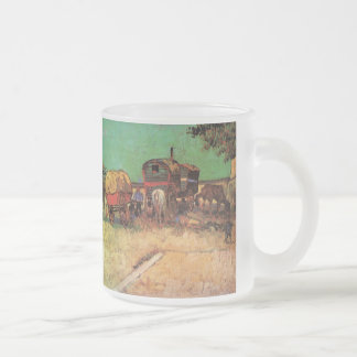 Van Gogh; Encampment of Gypsies with Caravans Frosted Glass Coffee Mug