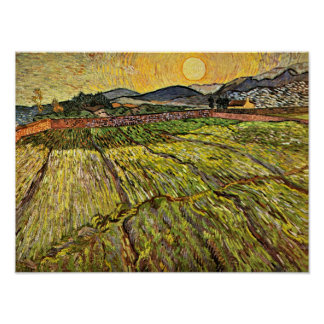 Van Gogh - Enclosed Field with Rising Sun Poster
