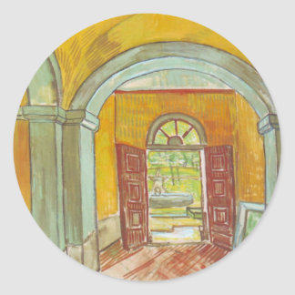 Van Gogh; Entrance Hall of Saint Paul Hospital Round Sticker