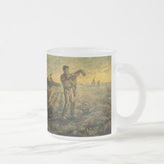 Van Gogh Evening: End of the Day, Vintage Art Frosted Glass Coffee Mug