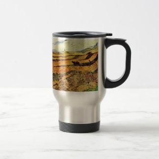 Van Gogh Field with Ploughman and Mill, Fine Art Travel Mug