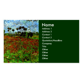Van Gogh Field with Poppies (F636) Fine Art Business Cards