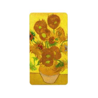 Van Gogh Fifteen Sunflowers In A Vase Fine Art Address Label