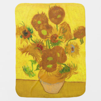 Van Gogh Fifteen Sunflowers In A Vase Fine Art Baby Blanket