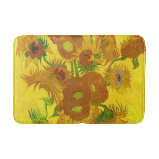 Van Gogh Fifteen Sunflowers In A Vase Fine Art Bath Mat