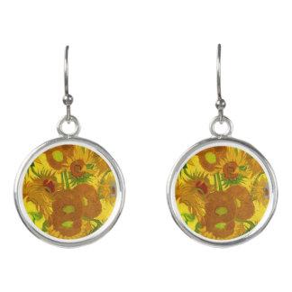Van Gogh Fifteen Sunflowers In A Vase Fine Art Earrings