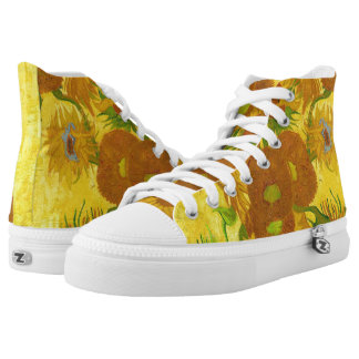 Van Gogh Fifteen Sunflowers In A Vase Fine Art High Tops