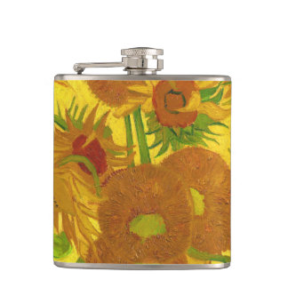 Van Gogh Fifteen Sunflowers In A Vase Fine Art Hip Flask