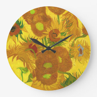 Van Gogh Fifteen Sunflowers In A Vase Fine Art Large Clock