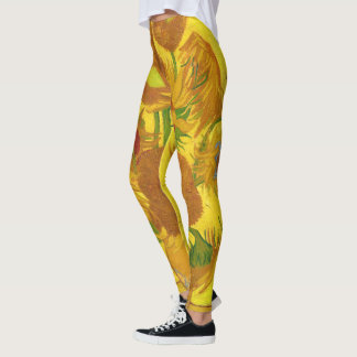 Van Gogh Fifteen Sunflowers In A Vase Fine Art Leggings