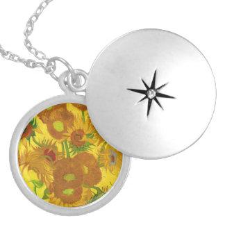 Van Gogh Fifteen Sunflowers In A Vase Fine Art Locket Necklace