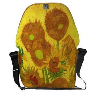 Van Gogh Fifteen Sunflowers In A Vase Fine Art Messenger Bags