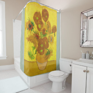 Van Gogh Fifteen Sunflowers In A Vase Fine Art Shower Curtain