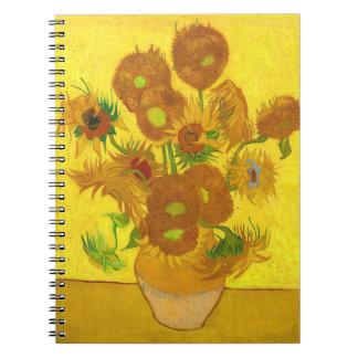 Van Gogh Fifteen Sunflowers In A Vase Fine Art Spiral Notebook