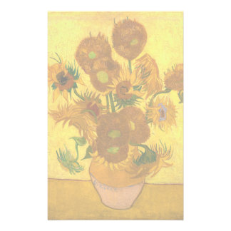 Van Gogh Fifteen Sunflowers In A Vase Fine Art Stationery Design