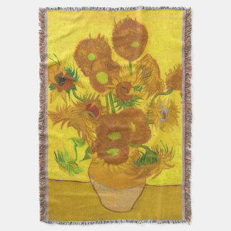 Van Gogh Fifteen Sunflowers In A Vase Fine Art Throw Blanket