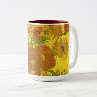 Van Gogh Fifteen Sunflowers In A Vase Fine Art Two-Tone Coffee Mug