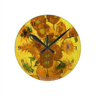Van Gogh Fifteen Sunflowers In A Vase Fine Art Wallclock