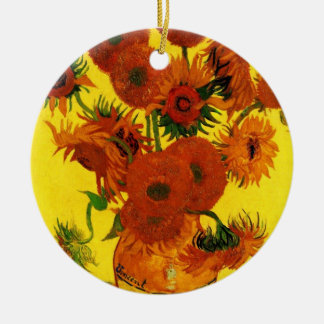 Van Gogh Fine Art, Vase with 15 Sunflowers Ceramic Ornament