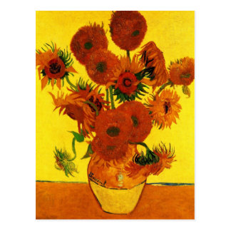 Van Gogh Fine Art, Vase with 15 Sunflowers Postcard