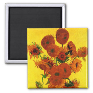 Van Gogh Fine Art, Vase with 15 Sunflowers Square Magnet