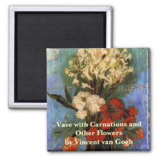 Van Gogh Fine Art Vase with Carnations and Flowers Magnet