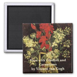 Van Gogh Fine Art Vase with Gladioli and Carnation Square Magnet