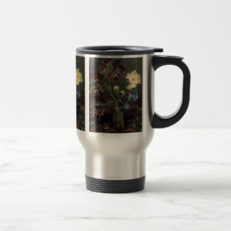 Van Gogh Fine Art, Vase with Myosotis and Peonies Travel Mug