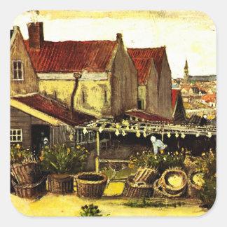 Van Gogh; Fish Drying Barn, Vintage Farm Farming Square Sticker