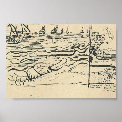 Van Gogh - Fishing Boats at Sea Print