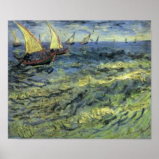 Van Gogh - Fishing Boats at Sea Poster