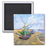 Van Gogh Fishing Boats Beach Saintes-Maries (F413) Square Magnet