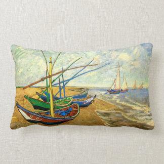 Van Gogh Fishing Boats on Beach at Saintes Maries Lumbar Cushion