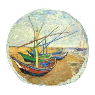 Van Gogh Fishing Boats on Beach at Saintes Maries Round Pouf