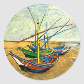 Van Gogh Fishing Boats on Beach at Saintes Maries Stickers