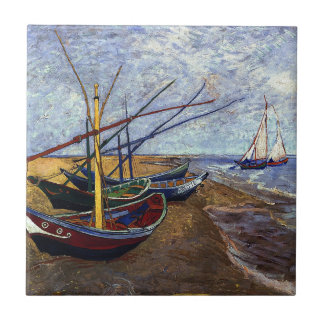 Van Gogh Fishing Boats on Beach Ceramic Tile