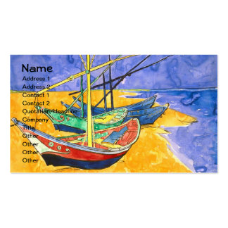 Van Gogh Fishing Boats on Beach (F1429) Fine Art Business Card