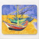Van Gogh Fishing Boats on Beach (F1429) Fine Art Mouse Pad