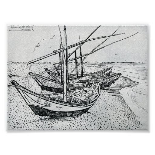 Van Gogh - Fishing boats on the Beach Posters