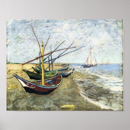 Van Gogh - Fishing boats on the Beach Print