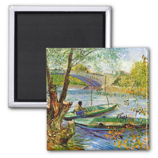 Van Gogh - Fishing in the Spring Square Magnet