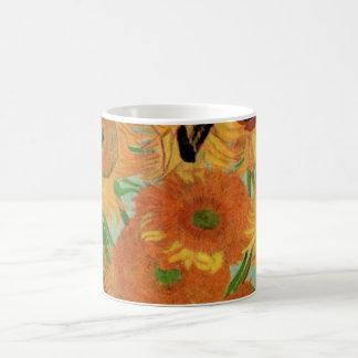 Van Gogh Flower Art, Vase with 12 Sunflowers Basic White Mug
