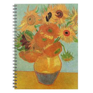 Van Gogh Flower Art, Vase with 12 Sunflowers Spiral Note Books
