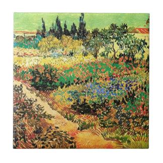 Van Gogh Flowering Garden Path, Vintage Farm Small Square Tile