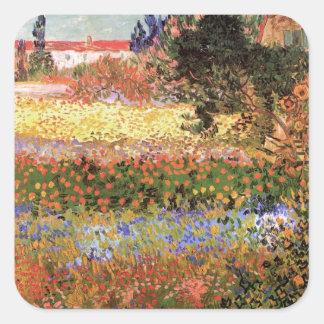 Van Gogh Flowering Garden, Vintage Flowers Floral Square Sticker